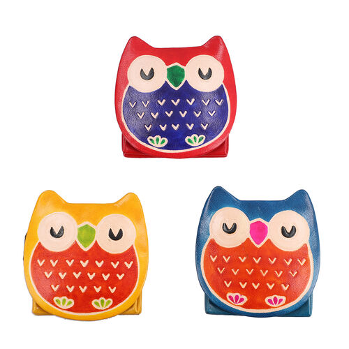 SUKRITI 100% Genuine Leather Sleeping Owl Coin Pouch (7x8cm) - Red, Navy and Yellow