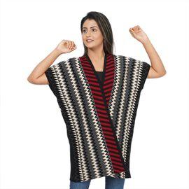 Chevron and Stripe Print Knit Duster Kimono (L: 89cm, W: 71cm) - Black and Red