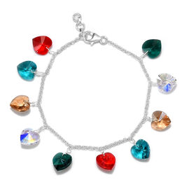J Francis - Crystal from Swarovski AB Crystal and Multi Gemstone Colour Crystal Bracelet (Size 7.5 w
