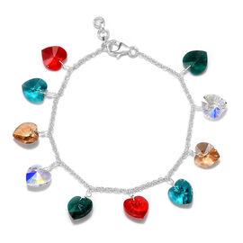 J Francis - Crystal from Swarovski AB Crystal and Multi Gemstone Colour Crystal Bracelet (Size 7.5 w