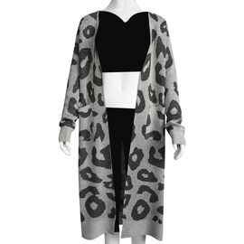 Kris Ana Animal Print Longline Wool Cardigan One Size (8-18) - Grey