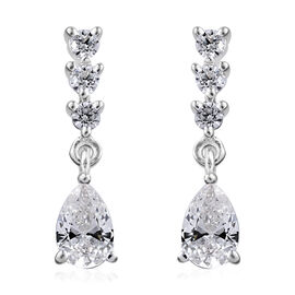 J Francis - Sterling Silver (Pear) Earrings (with Push Back) Made With SWAROVSKI ZIRCONIA