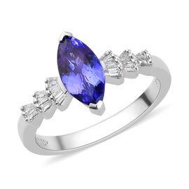 RHAPSODY 950 Platinum AAAA Tanzanite and Diamond (VS/E-F) Marquise Ring 1.15 Ct, Platinum wt. 4.92 G