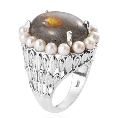 100% Natural Fire Labradorite (Ovl 18x13 mm), Freshwater Pearl Ring in Platinum Overlay Sterling Silver 15.50 Ct, Silver wt 8.70 Gms