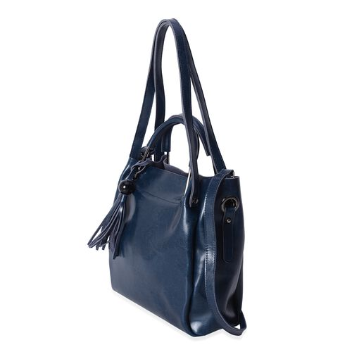 Close Out Deal High Glossed 100% Genuine Leather Navy Tote Bag with Tassels (Size 29x27x11 Cm)