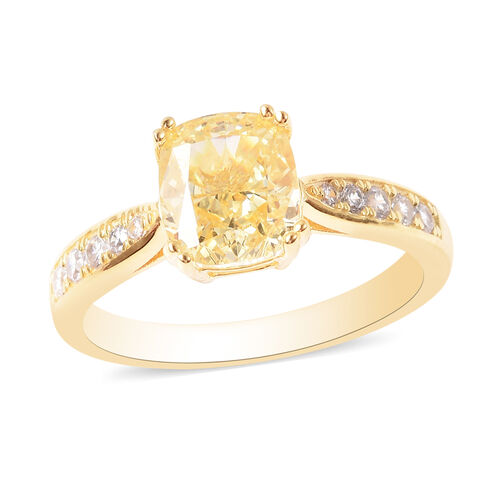 Lustro Stella - Simulated Yellow Diamond and Simulated White Diamond Ring in Yellow Gold Overlay Ste