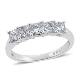 ILIANA 18K White Gold 1 Carat IGI Certified Diamond VVS-VS E-F 5 Stone Ring