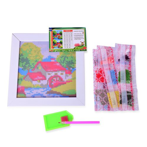 Home Decor - House Pattern Painting Kit with Multi Colour Austrian Crystals (Size 24X24 Cm)