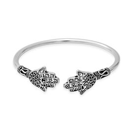 Sterling Silver Adjustable Hamsa Hand Bangle (Size 6.75), Silver wt 9.21 Gms