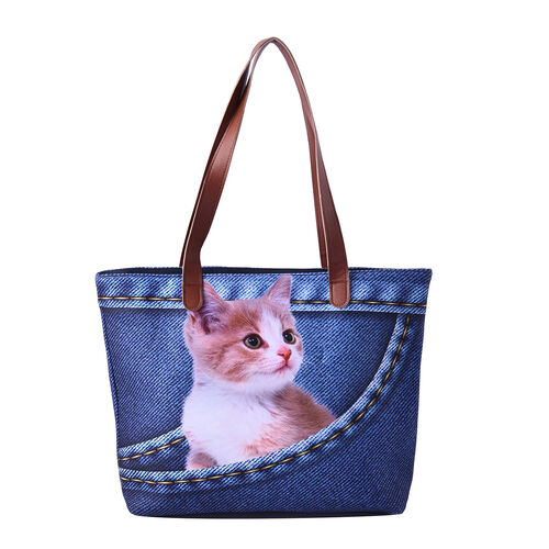 Cute Yellow Cat in Jeans Pocket Print Tote Bag in Blue (42x9x32cm)