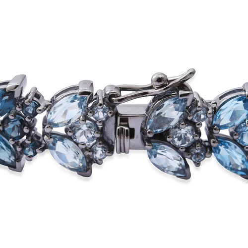 Swiss Blue Topaz (Mrq), Rose De France Amethyst and Multi Gemstone Bracelet (Size 7.25) in Black and Rhodium Plated Sterling Silver 13.000 Ct. Silver wt 15.40 Gms. Number of Gemstone 104