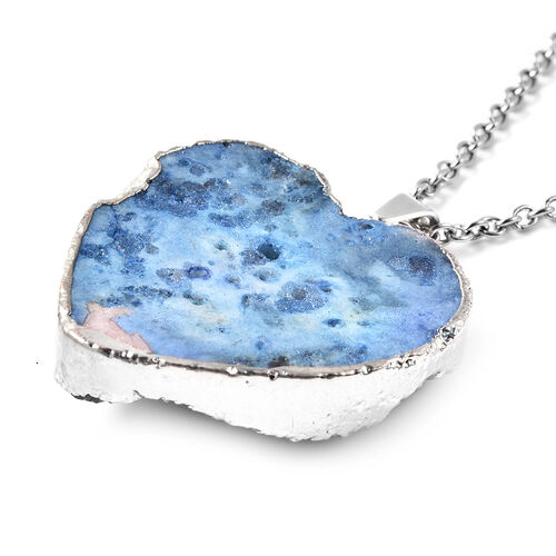 2 Piece Set -  Blue Druzy Quartz Heart Stud Earrings (with Push Back) and Heart Pendant with Chain (Size 20) in Silver Tone
