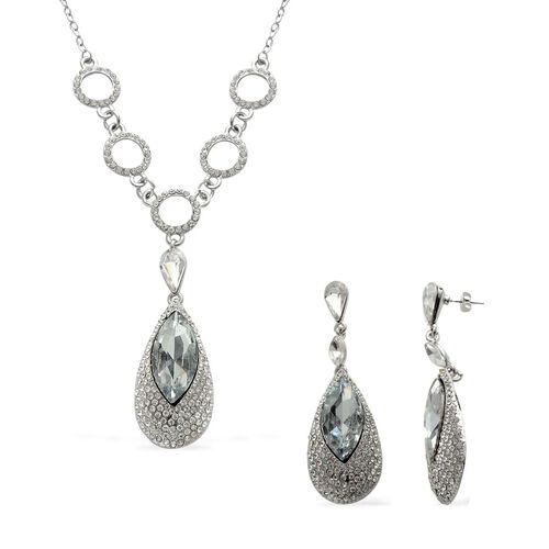 AAA White Austrian Crystal, Glass Necklace (Size 20) and Earrings in Silver Tone
