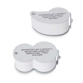 DOD -  Set of 2 - Jewellery Magnifier with UV & LED Light (Included 3 x LR1130 Batteries) - White Co