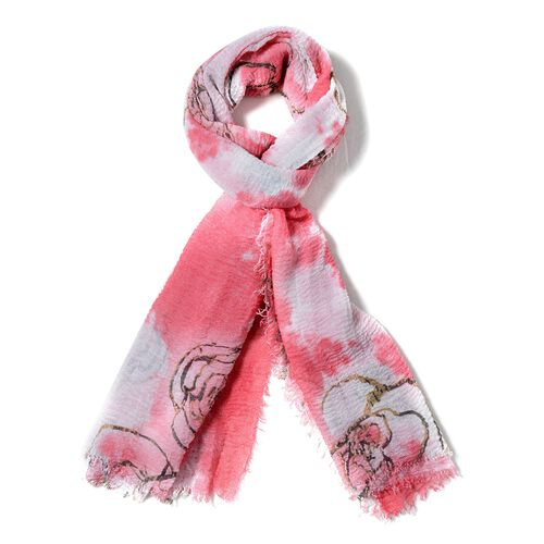 Watermelon Red, White and Brown Colour Art Rose Flower Pattern Scarf (Size 180x90 Cm)