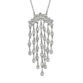 GP Diamond (Rnd), Blue Sapphire Waterfall Necklace (Size 18) in Platinum Overlay Sterling Silver 0.4