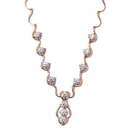 J Francis 14K Gold Overlay Sterling Silver Necklace (Size 18) Made with SWAROVSKI ZIRCONIA, Silver w