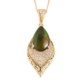 2.72 Ct Canadian Ammolite and White Zircon Peacock Feather Pendant with Chain in Sterling Silver