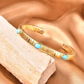 GP Tubogas Collection- Arizona Sleeping Beauty Turquoise and Blue Sapphire Bangle (Size 7.5) in Yellow Gold Overlay Sterling Silver Silver wt. 33.25 Gms