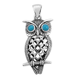 Bali Legacy Collection Arizona Sleeping Beauty Turquoise (Rnd) Owl Pendant in Sterling Silver