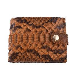 LA MAREY 100% Genuine Python Leather Snake Print Wallet (Size 11.5x9x2cm) - Tan