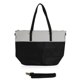 Designer Inspired- Black and White Colour Handbag with Removable Strap (Size 28x31x15 cm)