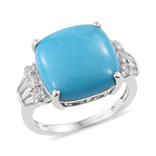 Preview Auction-Arizona Sleeping Beauty Turquoise (Cush 9.00 Ct), Natural Cambodian Zircon Ring in P