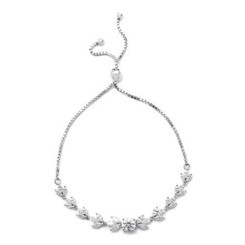 Swarovski Zirconia (4.50 Ct) Platinum Overlay Sterling Silver Bracelet (Size 7.5)  4.500  Ct.