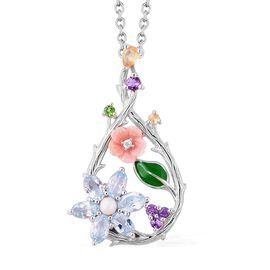 Jardin Collection - Pink Mother of Pearl, Freshwater Pearl, Sky Blue Topaz and Multi Gemstone Pendan