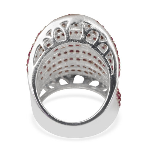 Burmese Ruby (Rnd) Ring in Rhodium Plated Sterling Silver 5.000 Ct. Silver wt 8.50 Gms.