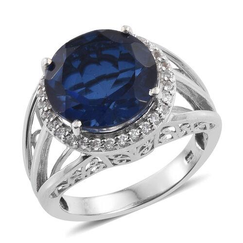 Ceylon Colour Quartz (Rnd 7.75 Ct), Natural Cambodian Zircon Ring in Platinum Overlay Sterling Silver 8.000 Ct.
