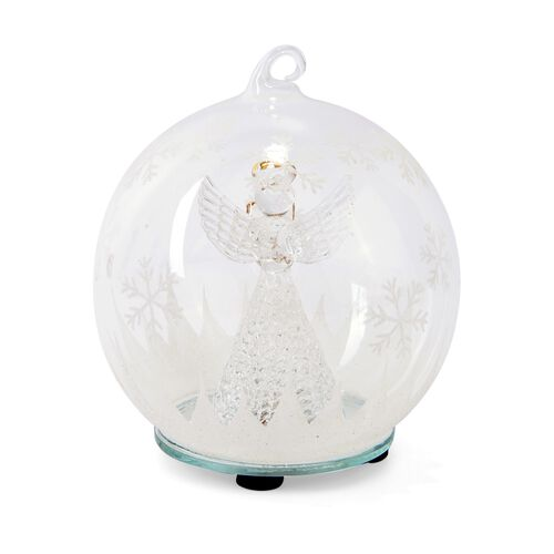Home Decor - Christmas Angel Theme Glass Ball with Colourful LED Lights Inside