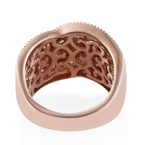 Diamond (Taper Bagguet), Red Diamond Cluster Ring in Rose Gold and Black Overlay Sterling Silver 1.000 Ct, Silver wt 6.94 Gms, Number of Diamonds 162.