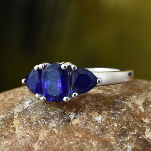 Blue Spinel (Cush) Trilogy Ring in Platinum Overlay Sterling Silver 2.000 Ct.