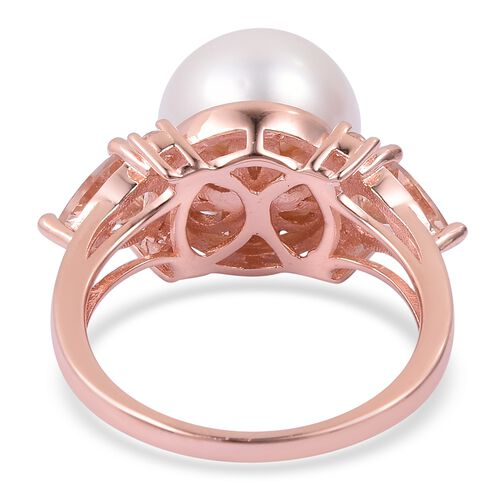 Collectors Edition- Very Rare Size Edison Pearl (Rnd 13-14mm), Marropino Morganite and Natural White Cambodian Zircon Ring in Rose Gold Overlay Sterling Silver