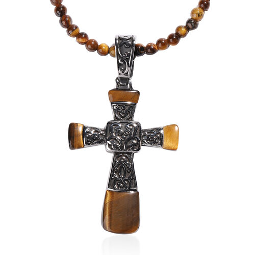 Set of 3- Yellow Tiger Eye Stretchable Bracelet (Size 7), Cross Pendant and Necklace (Size 20 with 3.5 Inch Extender) in Stainless Steel