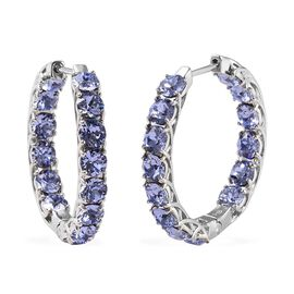 J Francis - Crystal from Swarovski Tanzanite Colour Crystal (Rnd) Hoop Earrings (with Clasp) in Plat