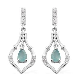 Grandidierite and Natural Cambodian Zircon Dangle Earrings (with Push Back) in Platinum Overlay Ster