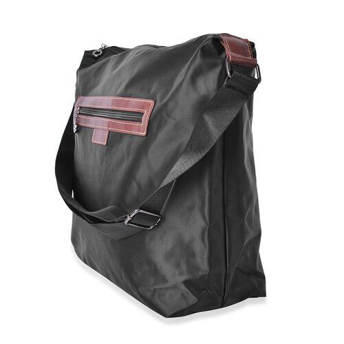 Kingston Black Water Resistant Crossbody Bag with Adjustable Shoulder Strap (Size 38X34X32X12.5 Cm)
