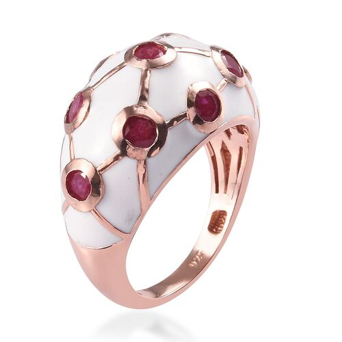 African Ruby Enamelled Dome Ring in Rose Gold Overlay Sterling Silver 1.50 Ct, Silver wt 5.37 Gms
