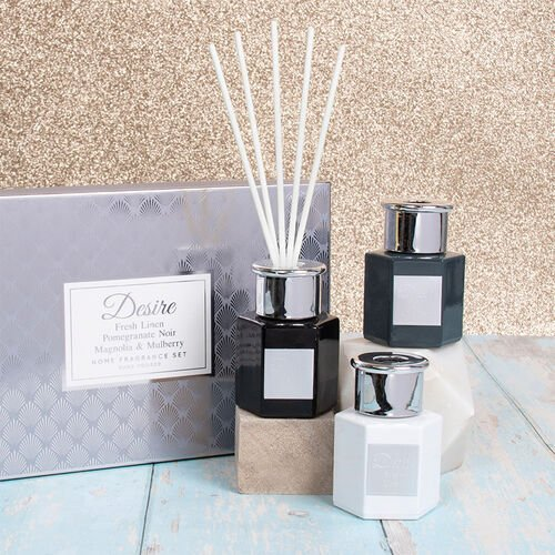Lesser & Pavey - Set of 3 Desire Diffuser Set Hex Black and White - Fresh Linen, Pomegranate Noir an