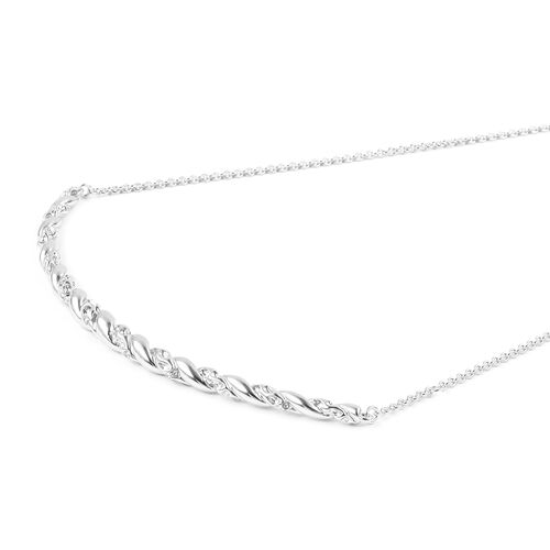 RACHEL GALLEY Rhodium Plated Sterling Silver Necklace (Size 30), Silver wt 19.72 Gms.
