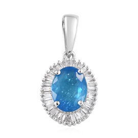 1.4 Ct AA Neon Apatite and Diamond Halo Pendant in 9K White Gold 1.15 Grams