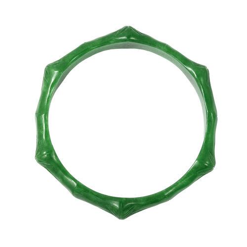 Carved Green Jade Leaf Bangle (Size 7.5) 171.50 Ct.