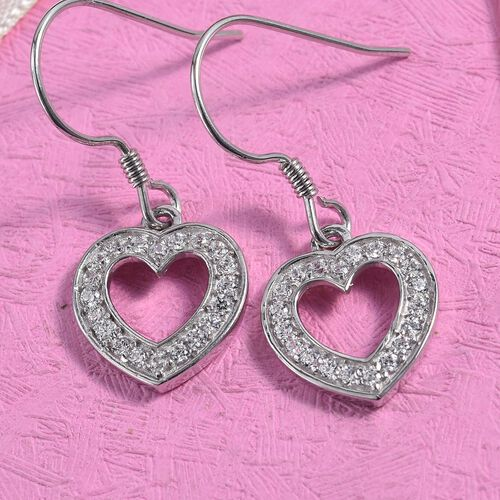 J Francis - Platinum Overlay Sterling Silver (Rnd) Heart Hook Earrings Made with SWAROVSKI ZIRCONIA 0.60 Ct.