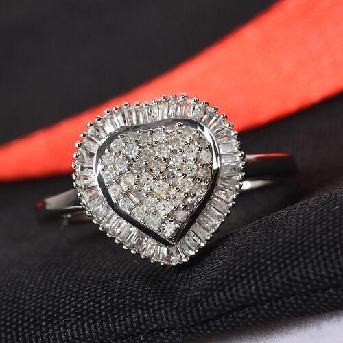 9K White Gold SGL Certified Diamond (I3/G-H) Heart Ring 0.500  Ct.