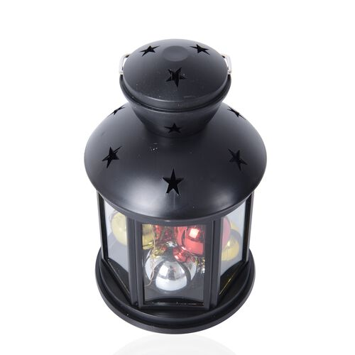 Xmas Decorations - Hexagon Shape Lantern with 6 Christmas Balls and LED Light