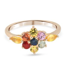 9K Yellow Gold AA Yellow Sapphire and Multi Sapphire 7 Stone Look Ring 1.2 Ct