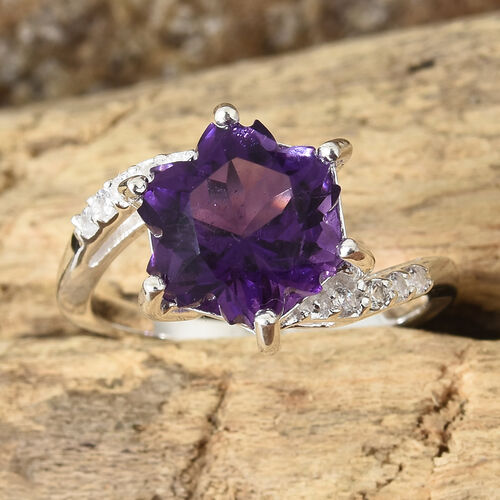 Amethyst and Natural Cambodian Zircon Bypass Ring in Sterling Silver 3.750 Ct.