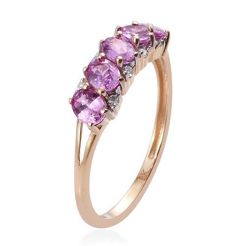 9K Yellow Gold AA Pink Sapphire (Ovl), Diamond Ring 1.000 Ct.